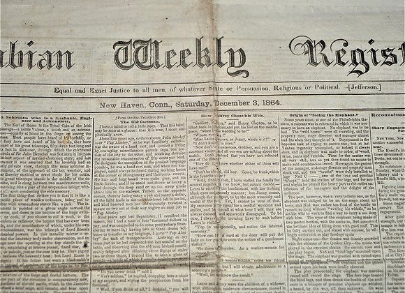 First Connecticut Cavalry - Columbian Weekly Register - 12/3/1864