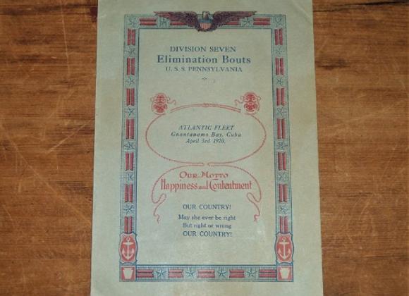 1920 Program for the US Navy Atlantic Fleet Division 7 Wrestling and Boxing