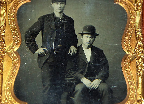 Tintype of Two Young Buddies Striking a Pose