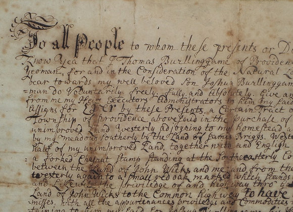 1727 Fee Simple Deed of Gift - Important RI Family - The Billinggames