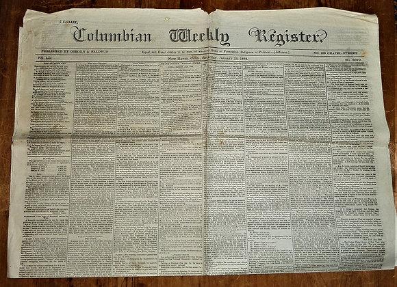 Columbian Weekly Register Newspaper - New Haven CT - Civil War - 1/23/1864