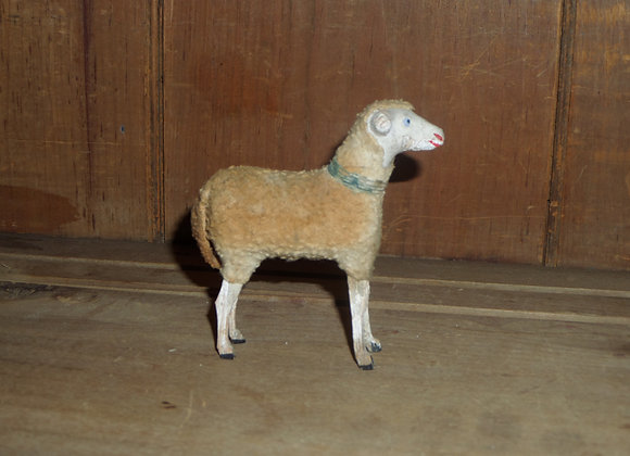 """Antique German Putz 3.75"""" Ewe with Faded Blue Collar"""