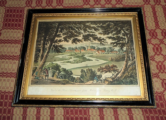 """Circa 1793 Etching """"View on the River Thames near Great Marlow from Quarry Woods"""
