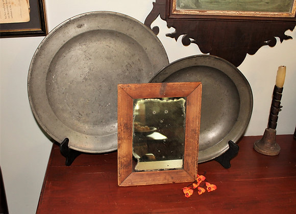 Early 19th Century Mirror with Remnants of Its Original Brown Paint on the Frame
