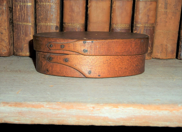 Early 19th Century Tiger Maple Oval Shaker Pantry Box