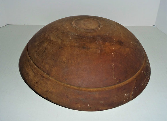 Antique Deep Out of Round Footed Bowl with Remnants of Original Red Paint