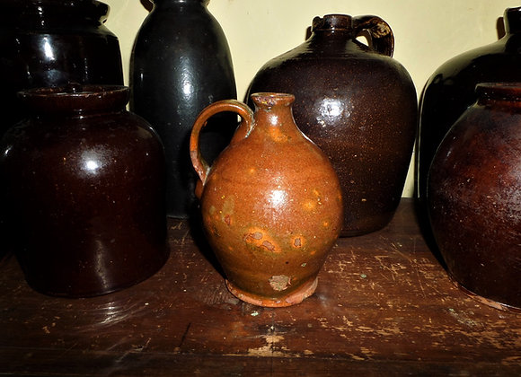 18th Century New England Small Green Glaze Ovoid Liquor Jug
