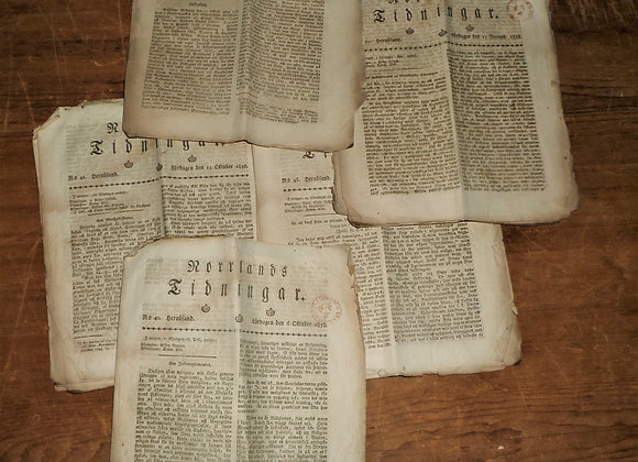1838 Swedish Language Newspapers - Set of Five - Found in New Hampshire