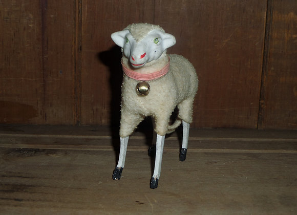 """Antique German Putz 5"""" Ewe with Pink Collar and Bell"""