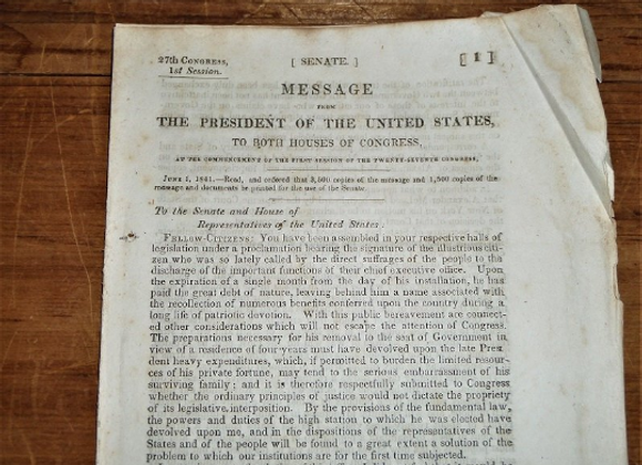 1841 Message (State of the Union) from President John Tyler to Both Houses