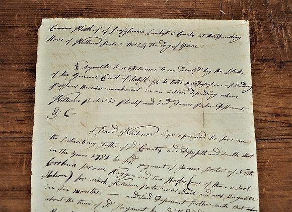 Circa 1782 Deposition of David Witmer - James Mercer Signature