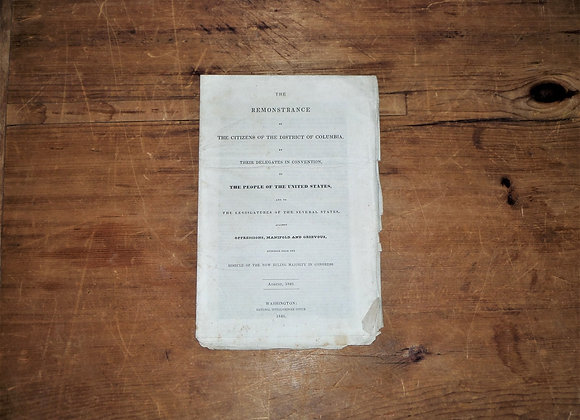 1840 The Remonstrance of The Citizens of the District of Columbia