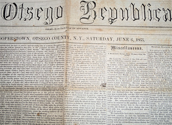 Otsego Republican Newspaper - Cooperstown NY - Civil War - Black Troops