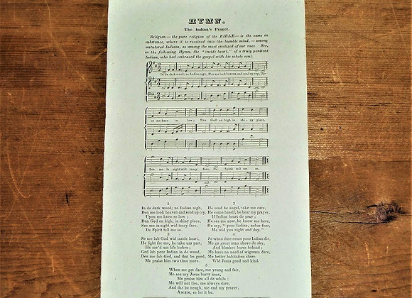 1830 The Indian's Prayer - A Hymn Originally Written by William Apess - RARE