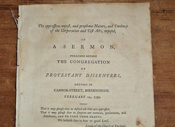 1790 Dissenters to the Test Act-A Sermon Preached by Samuel Pearce
