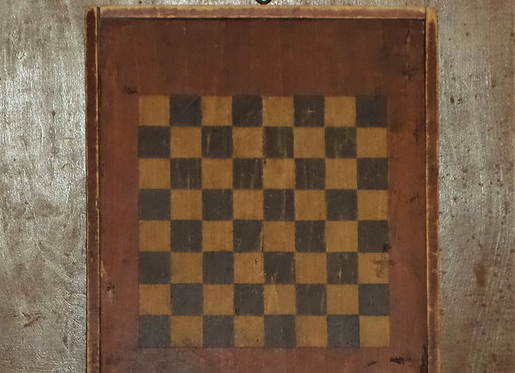 19th Century Double Sided Checkerboard in Red and Black Paint