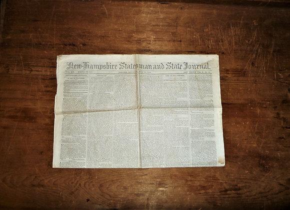 NH Statesman & State Journal Newspaper-7/11/1840 William Henry Harrison
