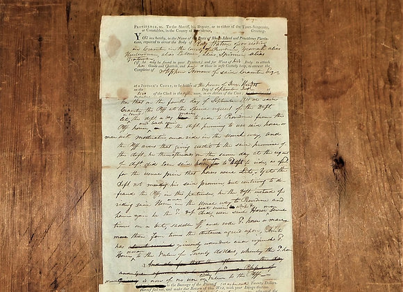 1811 Abuse of A Horse/Mare Sheriff's Warrant-Pawtuxet Rangers