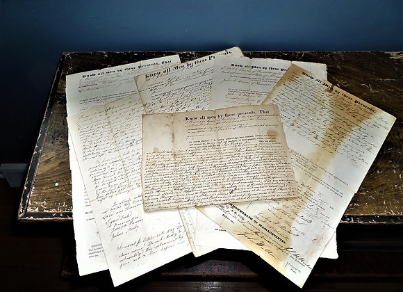 Eight Sets Of Antique Deeds From 1806 to the Early 1850's