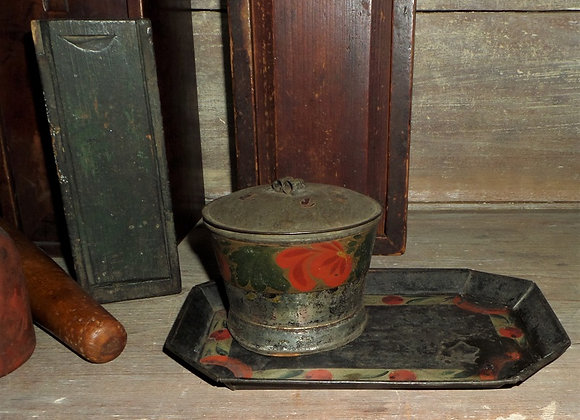 1830's Tin Painted Tole Ware Tray with red Cherries
