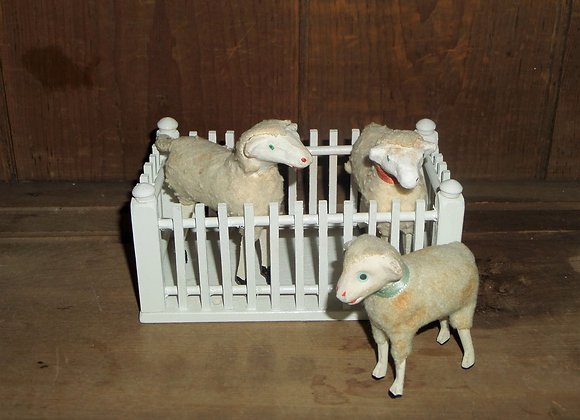 Three Vintage Sheep in a Rectangular Wood Fence Block Set