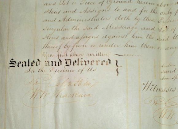 1836 - William Wood Thackara Signature as Witness on Philadelphia Deed