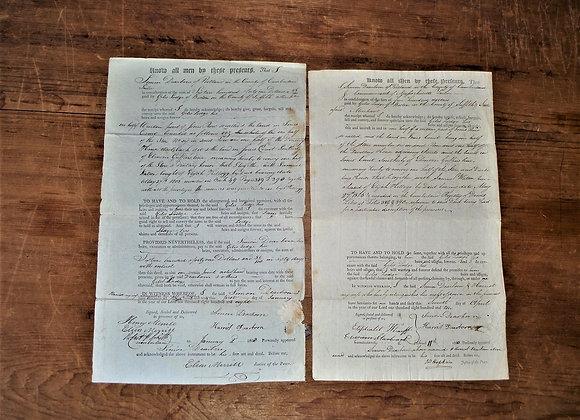 Two 1800's Land Deeds Simon Dearborn Signatures-Giles Lodge-Antique Manuscript
