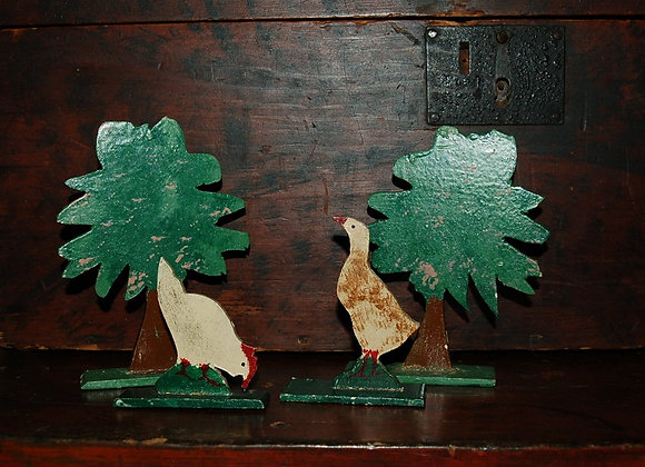 Large Goose and Chicken with Trees Putz Set