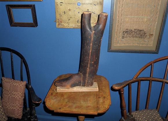 Antique Revolutionary War Era Man's Wood Boot Form