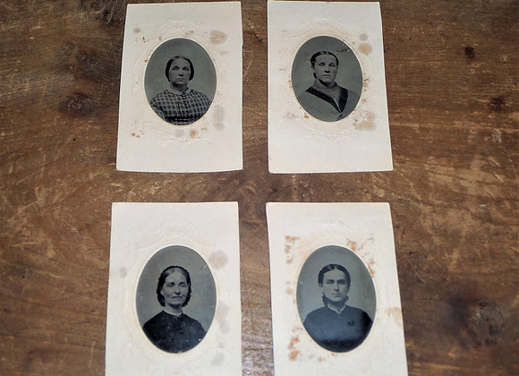 CW Era - Four Tintypes with Tax Stamps