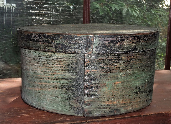 19th Century Covered Pantry Box in Original Blue/Green Paint