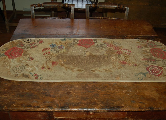 Antique  Hooked Rug -19th Century Vase Full of Flowers