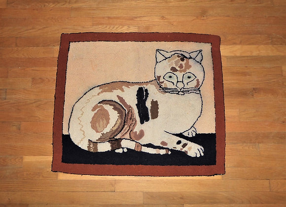 Antique Hooked Rug - Reclining Cat - Circa 1900