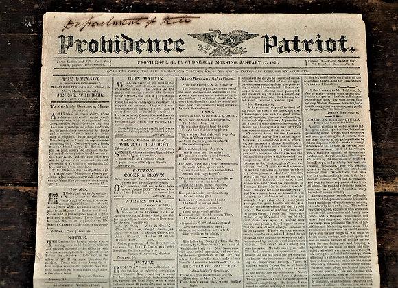 'Panic of 1819' - 1821 Providence Patriot Newspaper - January 1, 1821
