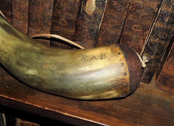 Early 19th Century Powder Horn with Carved Initials and Trees