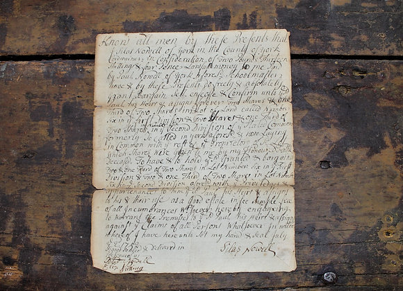 1752 Deed of the Nowell Family - Massachusetts/Maine Colony