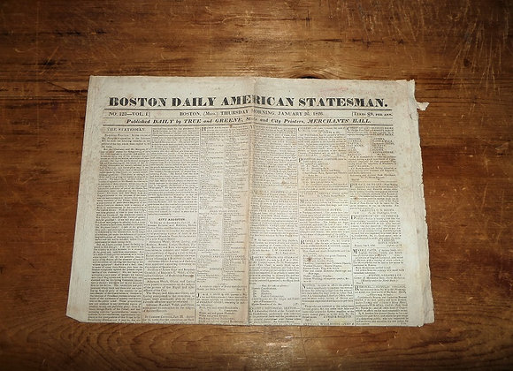 1826 Boston American Daily Statesman Newspaper - Formation of Naval Academy