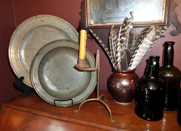 18th Century Rush Light with Rolled Top Candleholder