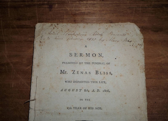 1806 Zenas Bliss Funeral Pamphlet - Died at 27 Years - Famous RI Family