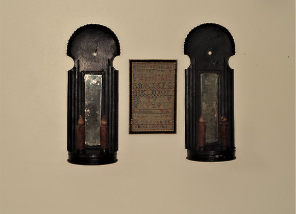 Early 19th Century Double Sconces in Original Black Paint-SOLD SEPARATELY