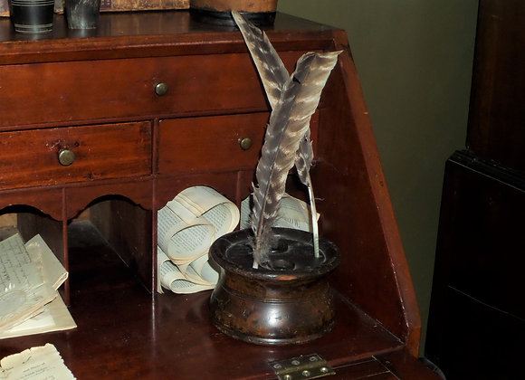 Circa 1850 Silliman Double Inkwell with Eagle Stencil