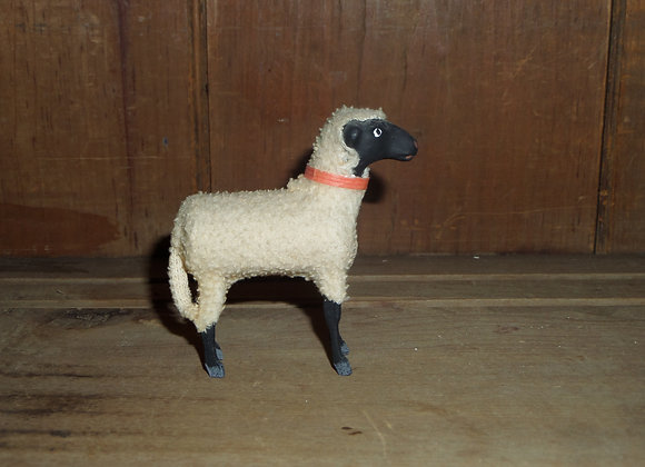 """An Antique German Putz 3.5"""" Black Face Sheep with Bell"""