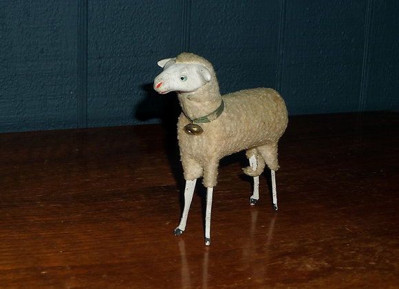 "Antique 5"" Putz Sheep with Bell and Green Collar"