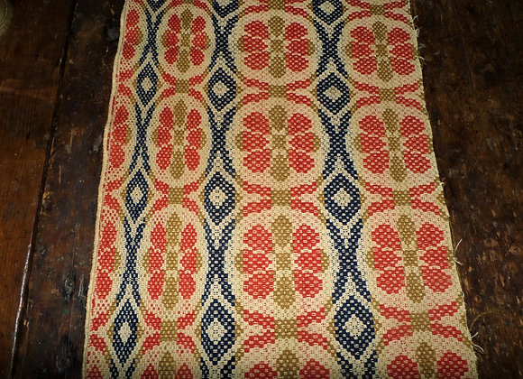Early 19th Century Colorful Coverlet Piece with Red and Green Flowers