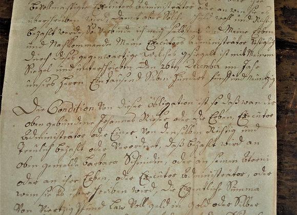 1796 Promissory Note - Jacob Reiser - Pennsylvania
