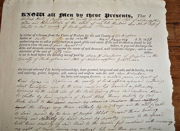1828 Widow Selling Land at Auction - War of 1812 Widow - New Hampshire
