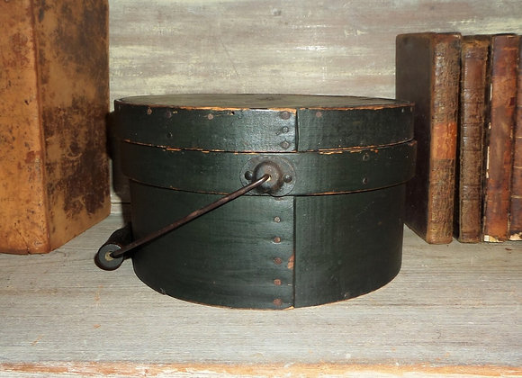 Mid 19th Century Double Banded Pantry Box in Its Original Dark Green Paint