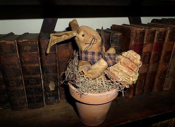Spring Gardening Bunny in Clay Pot