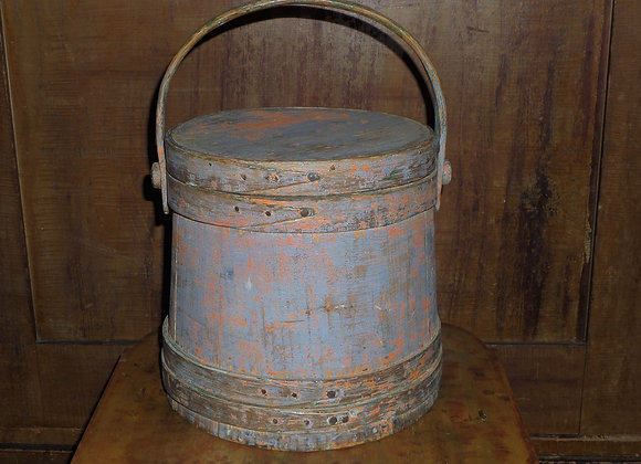 Mid 19th Century Blue Firkin with Remnants of Orange Painted Overcoat