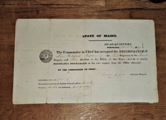 1829 Military Discharge from Maine Militia for Captain Lewis Wakefield